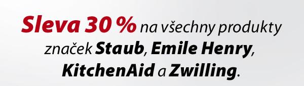 Sleva 30% na všechny produkty značek Staub, Emile Henry, KitchenAid a Zwilling.